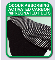 odour absorbing charcoal impregnated felts